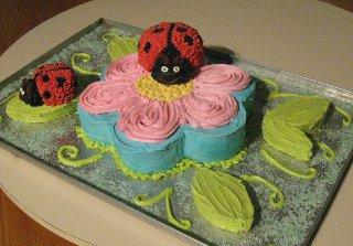 Ladybugs and Flower Cake